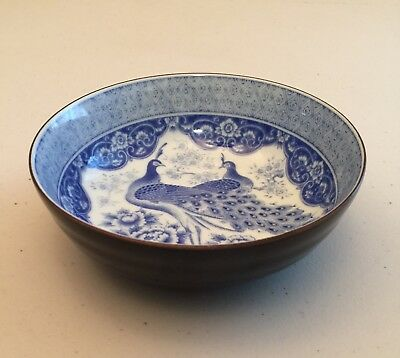 ANTIQUE ASIAN PORCELAIN BOWL PEACOCKS - MARKED JAPAN - VERY NICE 1950s