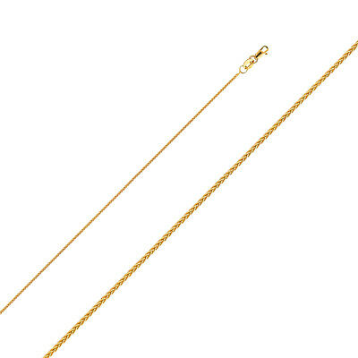 """Real Solid 14k Yellow Gold Round Wheat Necklace Chain 1.1 MM 16"""" 18"""" 20 22"""" 24"""""""