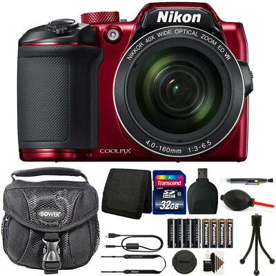 Nikon Coolpix B500 16MP Digital Camera + Extra Batteries + Top Accessories Red