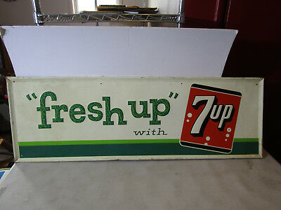 "VINTAGE 7up ""FRESH UP"" LARGE ORIGINAL EMBOSSED METAL SIGN"