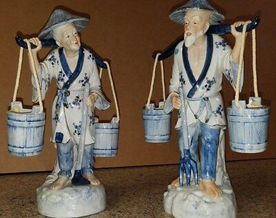 Vintage Asian Man and Woman Porcelain Figurines Carrying Water Buckets