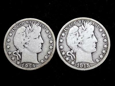 1914S & 1915S  Barber Half Dollars (Set Of 2) - Very Good Or Better