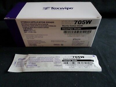 "(50) ITW Texwipe 6"" Sterile Cotton Applicator Swabs Individually Wrapped STX705W"