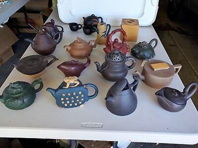 Yixing Teapot Collection, assortment of 16 teapots and 2 cups, excellent cond.