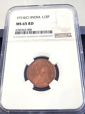 1914 (C) India 1/2 Pice NGC MS65 RD