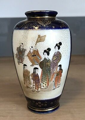 Antique Miniature Japanese Satsuma Vase Signed To The Base