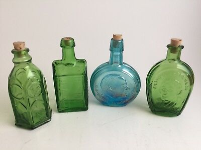 Lot of 4 Vintage Wheaton Miniature Colored Glass Bottles with Cork Stoppers