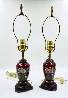 Antique / Vintage Japanese Silver Cloisonne / Ginbari Vases Converted To Lamps