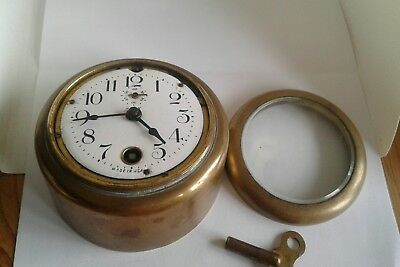 Very Rare Antique 8 Day Key Wound Heavy Brass Car Clock Pat Applied For  Usa