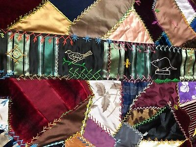 Antique C1890 Victorian Crazy Quilt Top Velvets + Silks Highly Embroidered ExCon
