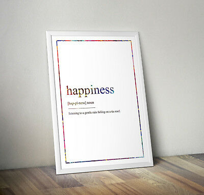 Happiness Definition Print, Home Decor, Minimalist Poster, Wall Art, Poster gift