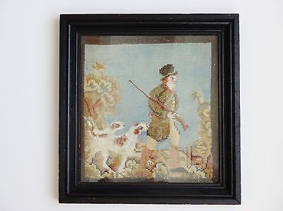 Antique Late 18th-Early 19th Century Georgian Regency Needlepoint Hunting Scene