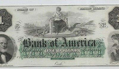 "$1""bank Of America"" (Crispy) 1800's ""bank Of America"" (Appears Gem Uncirculated)"