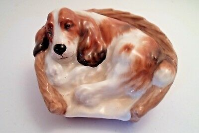 Vintage Royal Doulton Cocker Spaniel Dog in Basket HOLIDAY PUP COTTAGE READY
