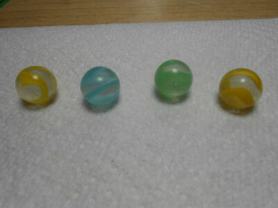 Vintage Lot of 4 Akro Agate Spiral Snake Marbles - Yellow/Blue/Green - 5/8""