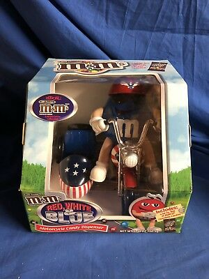 M&M's Red White & Blue Motorcycle Candy Dispenser New In Box Holiday Christmas