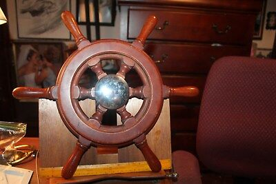 """Vintage Small 17"""" Wooden Ships Wheel Boat Yacht Sailing Made In Canada M2370-2"""