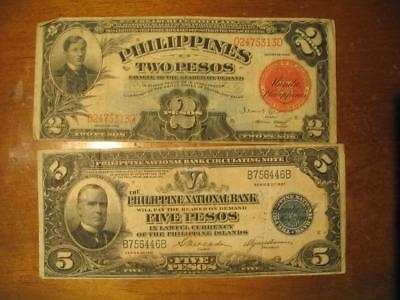 Philippines 1936 Two Pesos , 1921 Five Pesos  Bank Notes