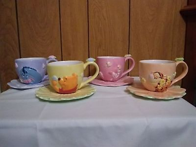 4 Disney 3D Cups & Flower Plates * Pooh * Eyeore * Tigger * Kids * Hard To Find