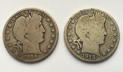 Lot Of Two Barber Half Silver Dollars 1906-D And 1915-S Coins