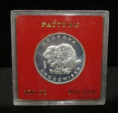 1978 Poland 100 Zlotych Proof Silver Beaver - Proba/Pattern  in Acrylic Holder!