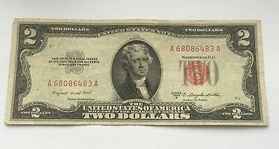 1953 $2 United States Note Five Dollar Bill With Red Seal