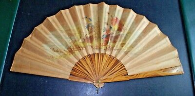 Antique Victorian Era Folding Hand Fan Carved Wood, Pictures on Silk Fabric