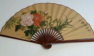 """Japanese Wall Folding Fan Floral Design, Red Stamp, Ethnic Art, Large 37"""" x 20"""""""