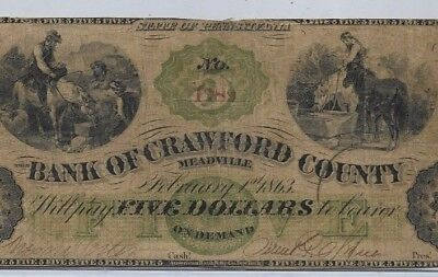 "$5 ""bank Of Crawford County""1800's (Horses & Horses)!!"" $5 (Green Overprint) Wow"