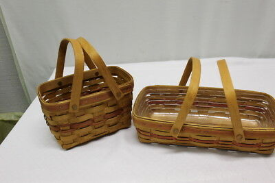 Two Longaberger 1992 Christmas Collection Red Seasons Greetings & Bread Basket