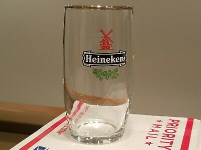 New But Vintage Heineken Curved Glass Gold Rim,  Rare!  Perfect!