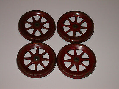 Lot of 4 Antique or Vintage MECCANO RED No.19a SPOKED WHEELS x 4 PCS