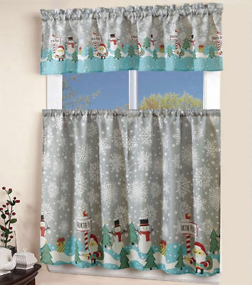 3 pcs Christmas Kitchen Curtain with Swag and Tier Window Curtain Set Holiday