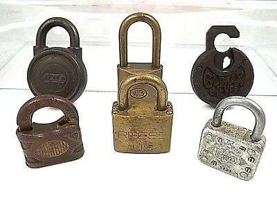 Locks Padlock Antique BRASS IRON CORBIN YALE CLIMAX WB REESE NO KEY MAN CAVE