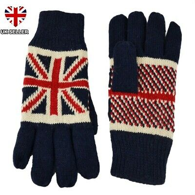 Union Jack Gloves Knitted British Flag Great Britain England Winter New