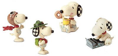 Set of 4 Mini Peanuts by Jim Shore Snoopy Figures Ace Scout Donut Coffee Typing