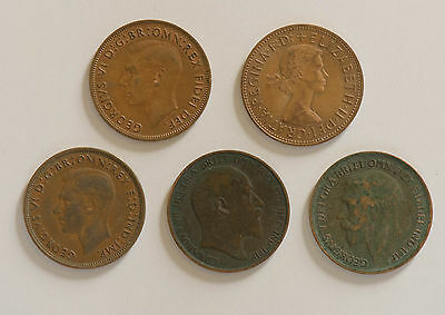 VINTAGE ANTIQUE PENNY UK COIN LOT OF 5 1902 1918 YEAR LARGE COIN United Kingdom