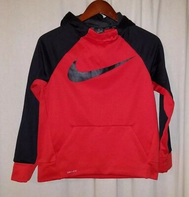 Nike Hooded pullover Dri-Fit Fleece lined Sweatshirt Boys Youth L Black/Red