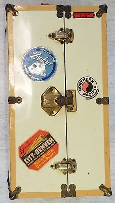 DOLL'S VINTAGE METAL STEAMER/TRAVEL TRUNK well TRAVELED over RAIL,AIR,SEA& LAND