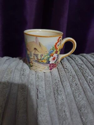 Unusual Antique vintage coffee can cup with cottage seen hand painted beautiful