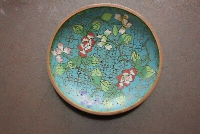 """Antique Chinese cloisonne brass floral plate, 4-1/2"""""""