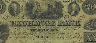 "$20""exchange Bank""1800's ""actual Sigs""(Green) $20 (Crispy Note) ""indian Note""!"