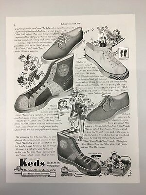 1937 Keds Shoes Magazine Advertisement With Westinghouse On The Reverse Side