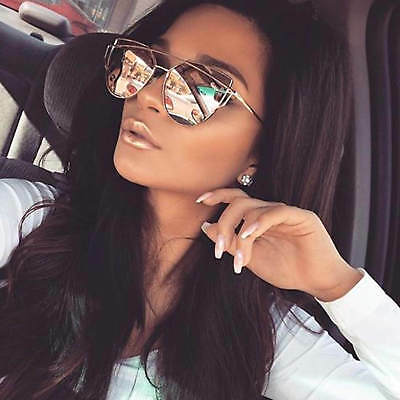 Fancy Trendy Cat Eye Sunglasses Flat Mirrored Lens Metal Frame Women Fashion