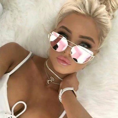 Oversized Cat Eye Sunglasses Flat Pink Mirrored Lens Metal Frame Women Fashion
