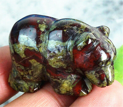 D0516 38x18x25mm Natural Dragon Blood Stone Hand Carved Bear Figurine