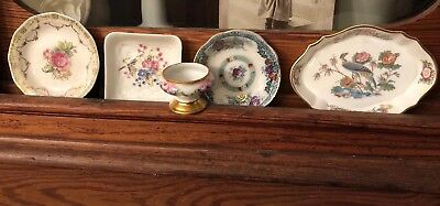 Antique Vintage Rose Bird Chic Cottage Shabby Victorian Butter Dishes X 4 Bonus
