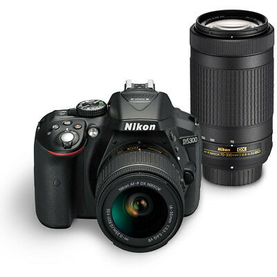 Nikon D5300 Digital 24.2MP SLR Camera w/ AF-P 18-55mm VR & 70-300mm Lens