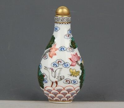 Chinese Exquisite Handmade lotus crane pattern porcelain snuff bottle