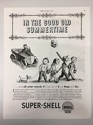 1937 Super-shell Gasoline Magazine Advertisement With Simoniz Wax On Reverse